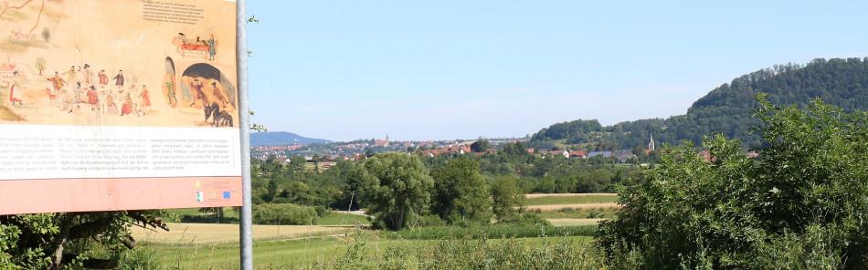 Infotafel für Flößerweg bei Hägenau mit Blick auf Ottendorf und Westheim