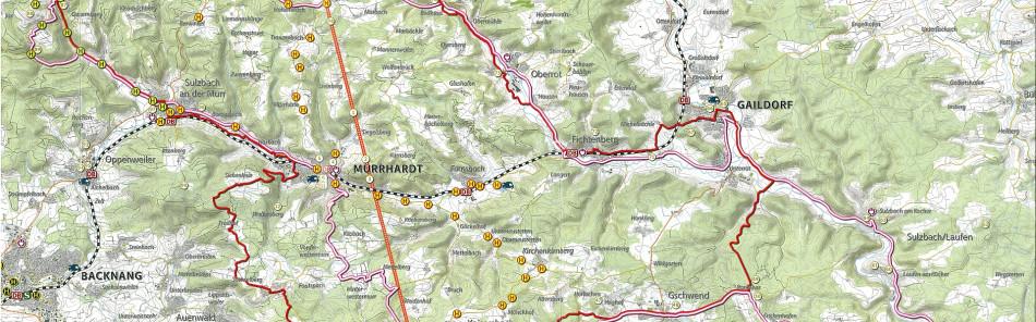 Idyllische Straße - Kartenausschnitt der Rad- und Autoroute
