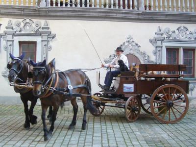 Historischer Marktwagen im Innenhof des Alten Schlosses