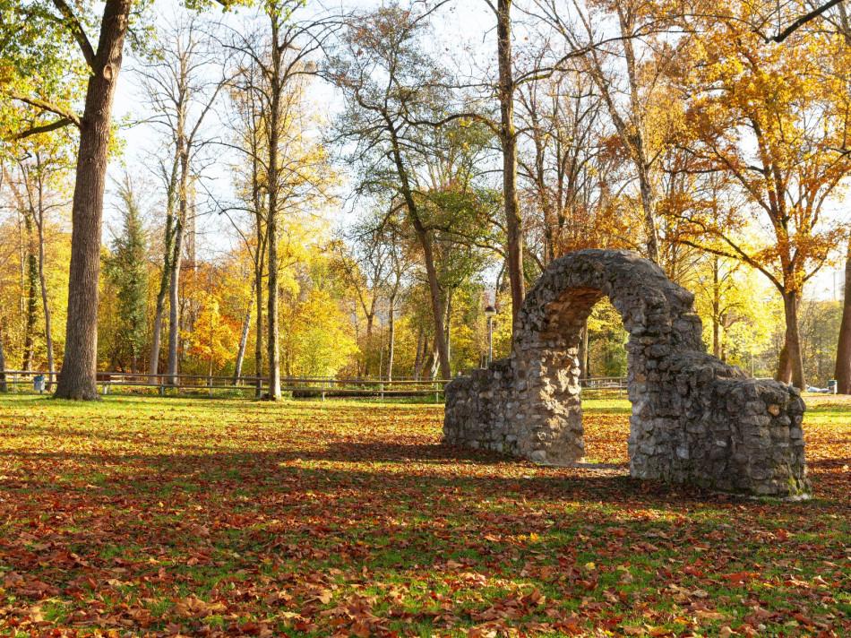Der naturbelassene Schlosspark in Gaildorf mit vielen Bäumen.